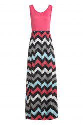 Sleeveless Maxi Chevron Tank A Line Dress - WATERMELON RED
