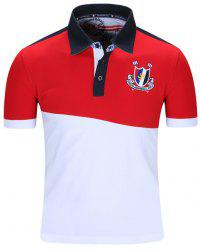 Badge brodé Color Block Spliced ​​manches courtes Polo T-Shirt col Turn-Down For Men - Rouge