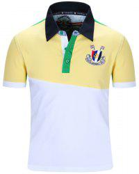 Turn-Down Collar Badge Embroidered Color Block Spliced Short Sleeve Polo T-Shirt For Men -