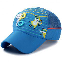 Stylish Letter Embroidery Stripe and Catoon Raccoon Pattern Baseball Cap For Kids -