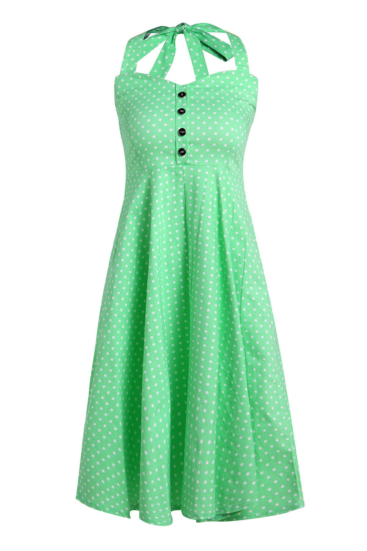 Buy Vintage Halterneck Polka Dot Button Design Women's Dress