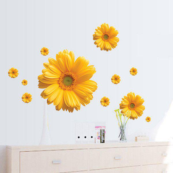 Chic Daisy Pattern Wall Sticker For Bedroom Livingroom DecorationHOME<br><br>Color: YELLOW; Wall Sticker Type: Plane Wall Stickers; Functions: Decorative Wall Stickers; Theme: Botanical,Florals; Material: PVC; Feature: Removable; Size(L*W)(CM): 45*60CM; Weight: 0.225kg; Package Contents: 1 x Wall Sticker;