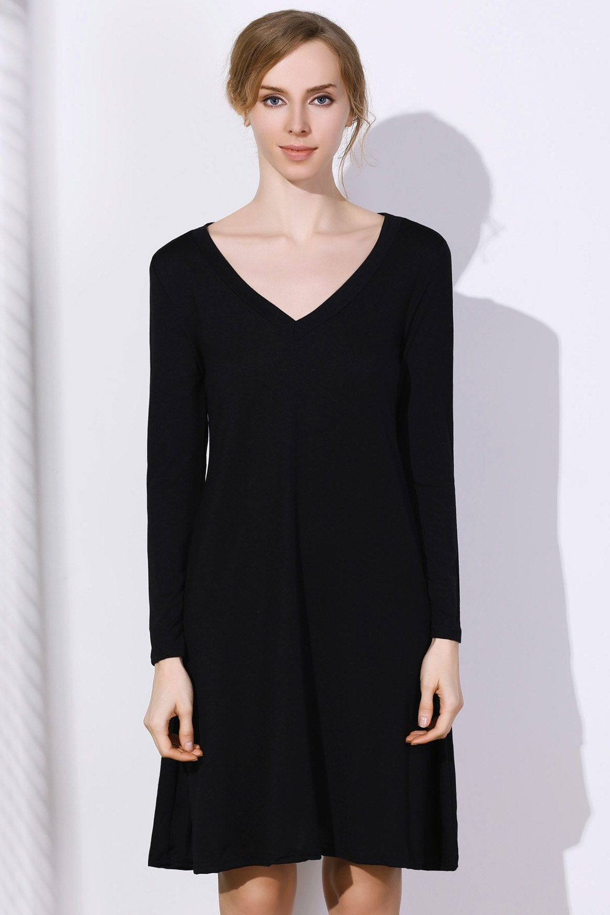 Trendy Simple Plunging Neck Long Sleeve Pure Color Women's Dress