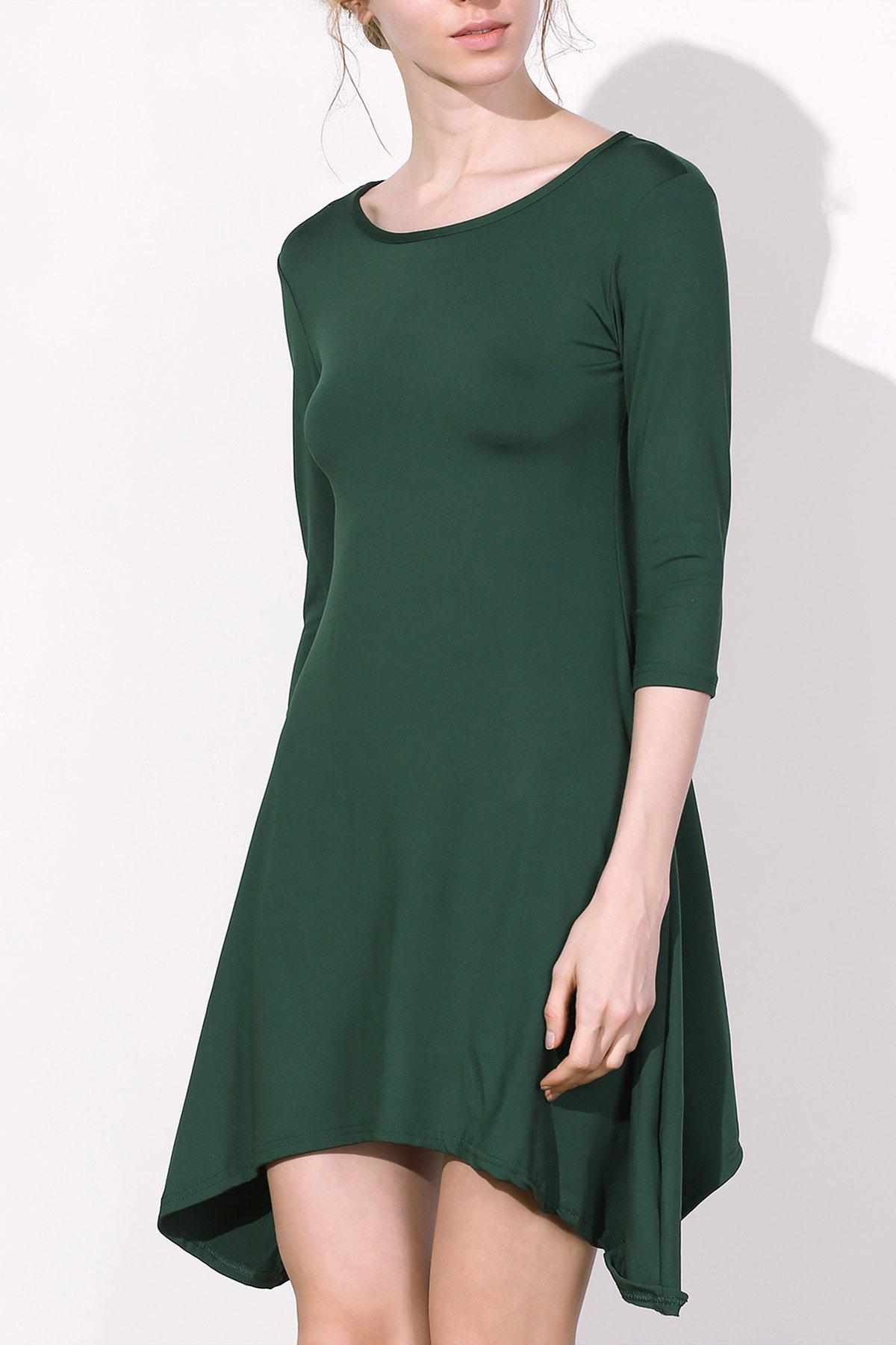Online Casual Scoop Neck 3/4 Sleeve Solid Color Asymmetrical Women's Dress