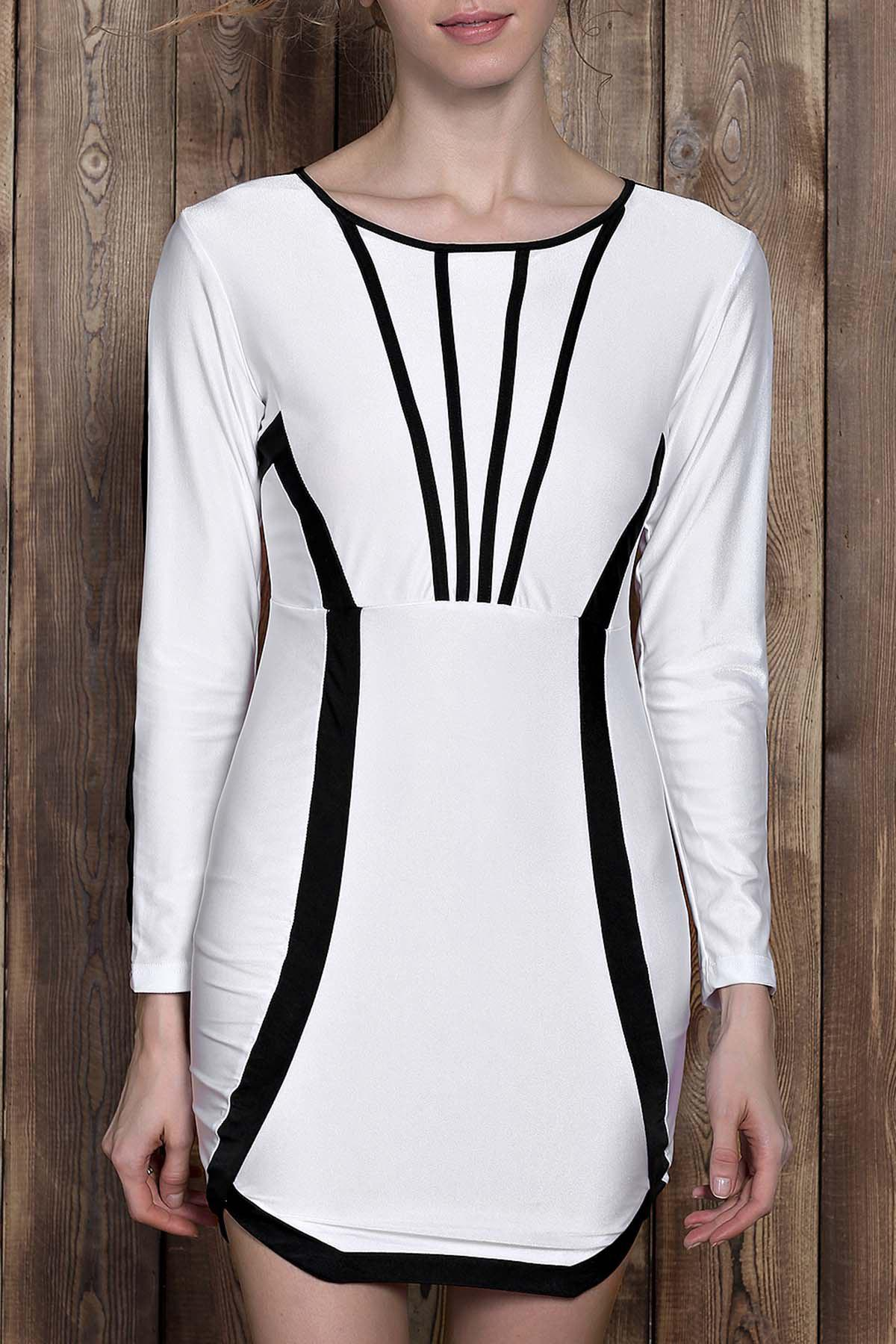 Discount Stylish Scoop Neck Color Block Long Sleeve Bodycon Mini Dress For Women