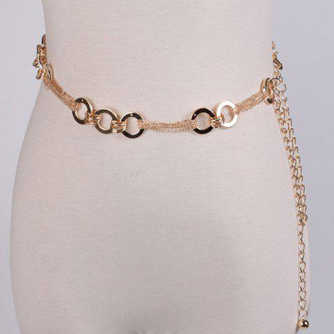 Metal Hoop Chain BeltACCESSORIES<br><br>Color: GOLDEN; Group: Adult; Gender: For Women; Style: Fashion; Belt Material: Metal; Pattern Type: Round; Belt Silhouette: Skinny Belt; Belt Length: 110cm; Weight: 0.087kg; Package Contents: 1 x Belt;
