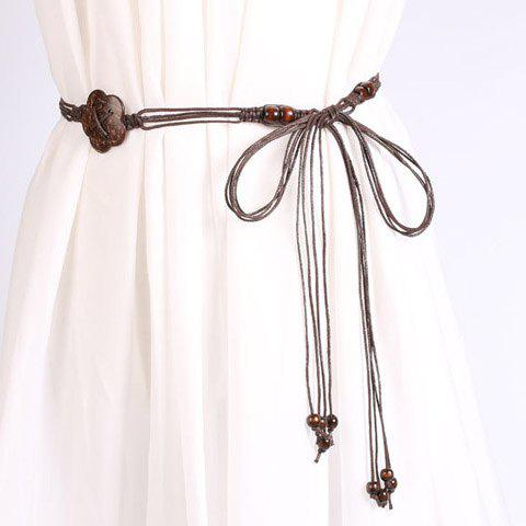 Chic Wooden Beads Flower Decorated Handmade Knitted Waist Belt For WomenACCESSORIES<br><br>Color: COFFEE; Group: Adult; Gender: For Women; Style: Fashion; Belt Material: Knitted; Pattern Type: Others; Belt Silhouette: Skinny Belt; Belt Length: 170CM; Belt Width: 1.5CM; Weight: 0.053kg; Package Contents: 1 x Belt;