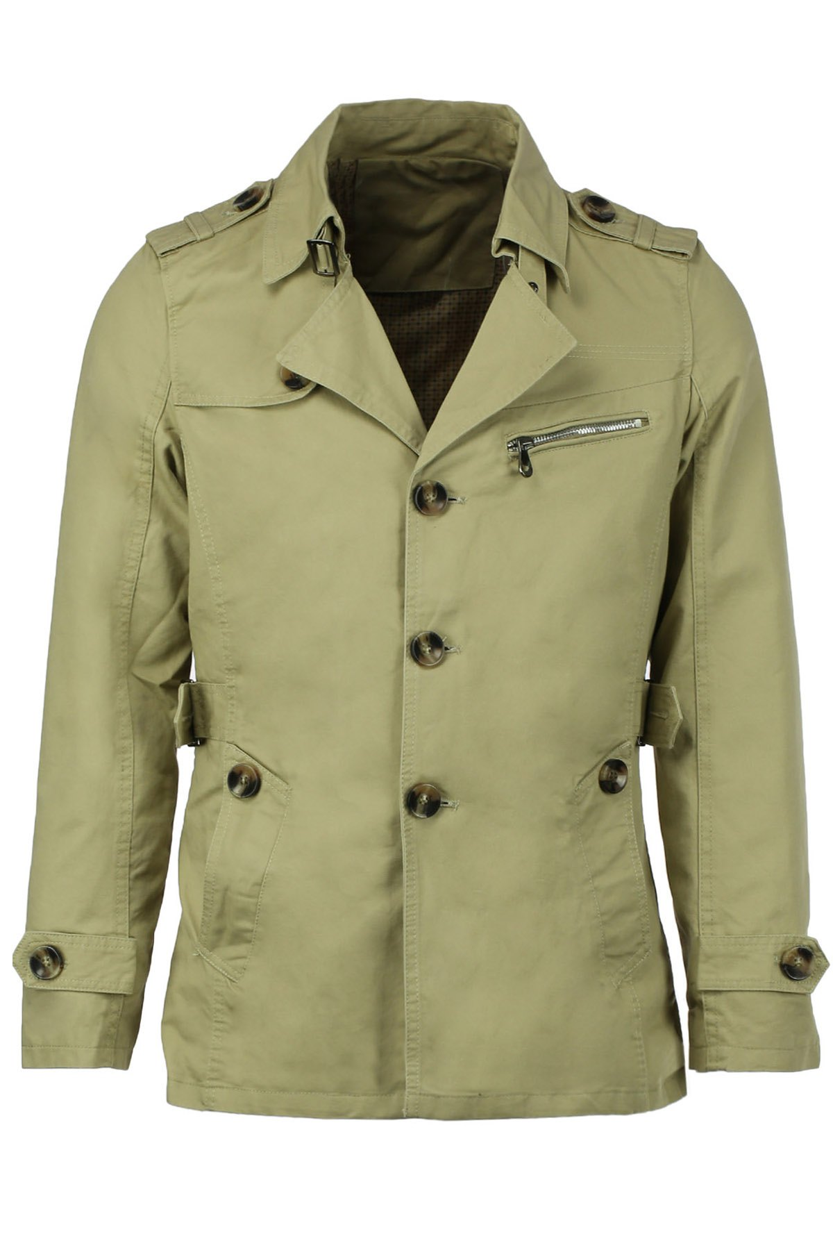 Turn-Down Collar Epaulet Single Breasted Long Sleeve Mens Trench CoatMEN<br><br>Size: 2XL; Color: LIGHT KHAKI; Clothes Type: Trench; Style: Fashion; Material: Cotton,Polyester; Collar: Turn-down Collar; Shirt Length: Long; Sleeve Length: Long Sleeves; Season: Fall,Winter; Weight: 0.850kg; Package Contents: 1 x Coat;
