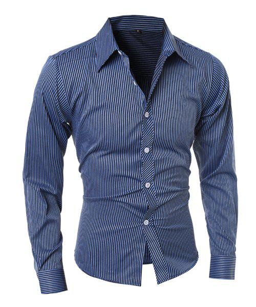 Chic Vogue Shirt Collar Vertical Stripe Slimming Long Sleeve Polyester Casual Shirt For Men