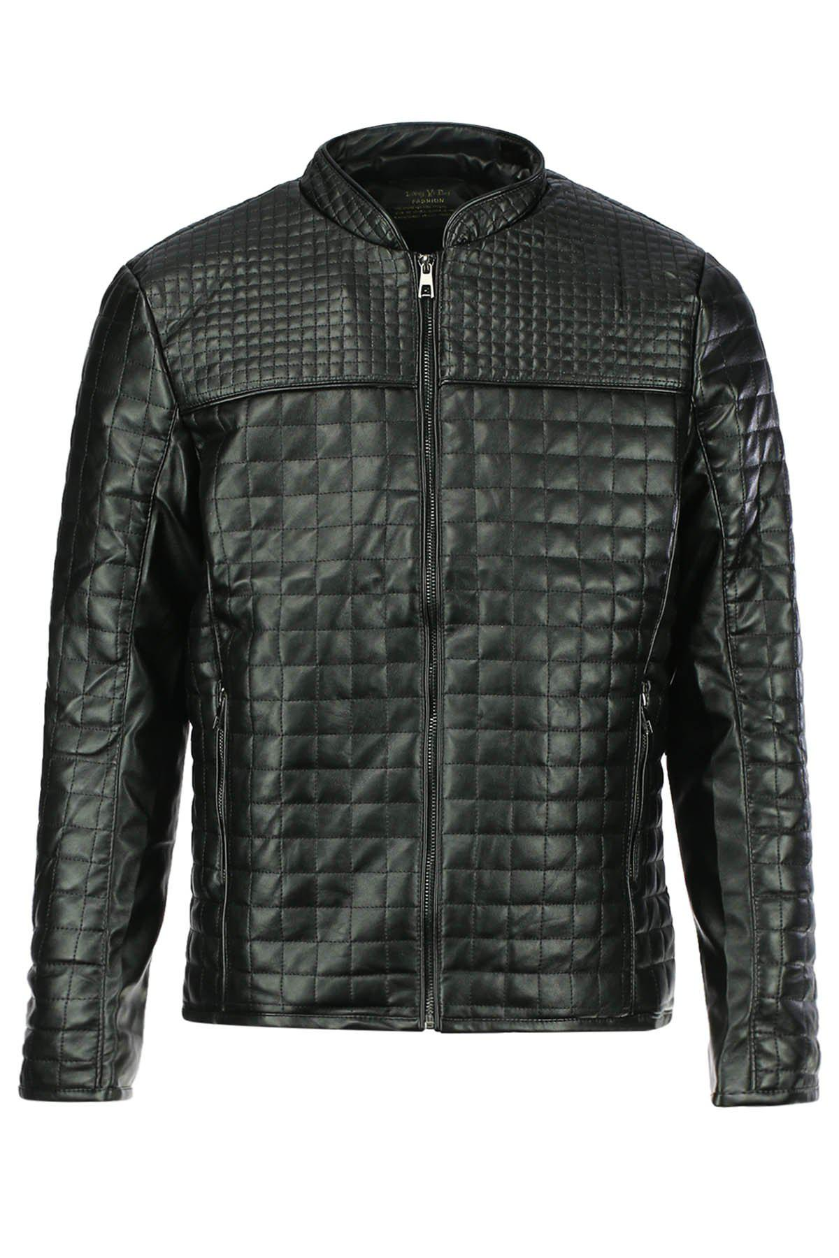 Affordable Slimming Checked Stand Collar Long Sleeve PU-Leather Men's Jacket