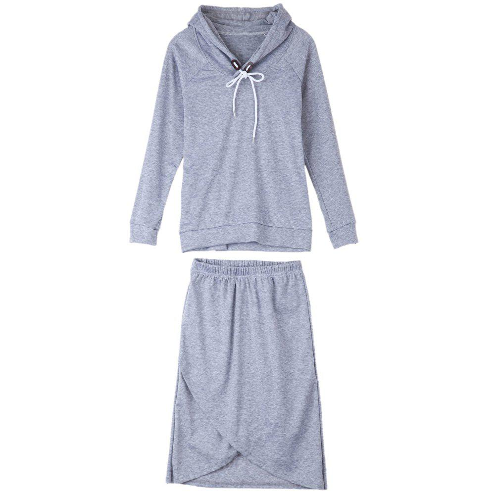 Fashion Asymmetrical Hem Long Sleeve Hooded Solid Color Women's Suit