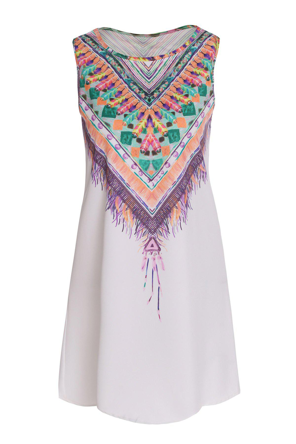 Buy Ethnic Style Scoop Neck Sleeveless Printed Women's Dress