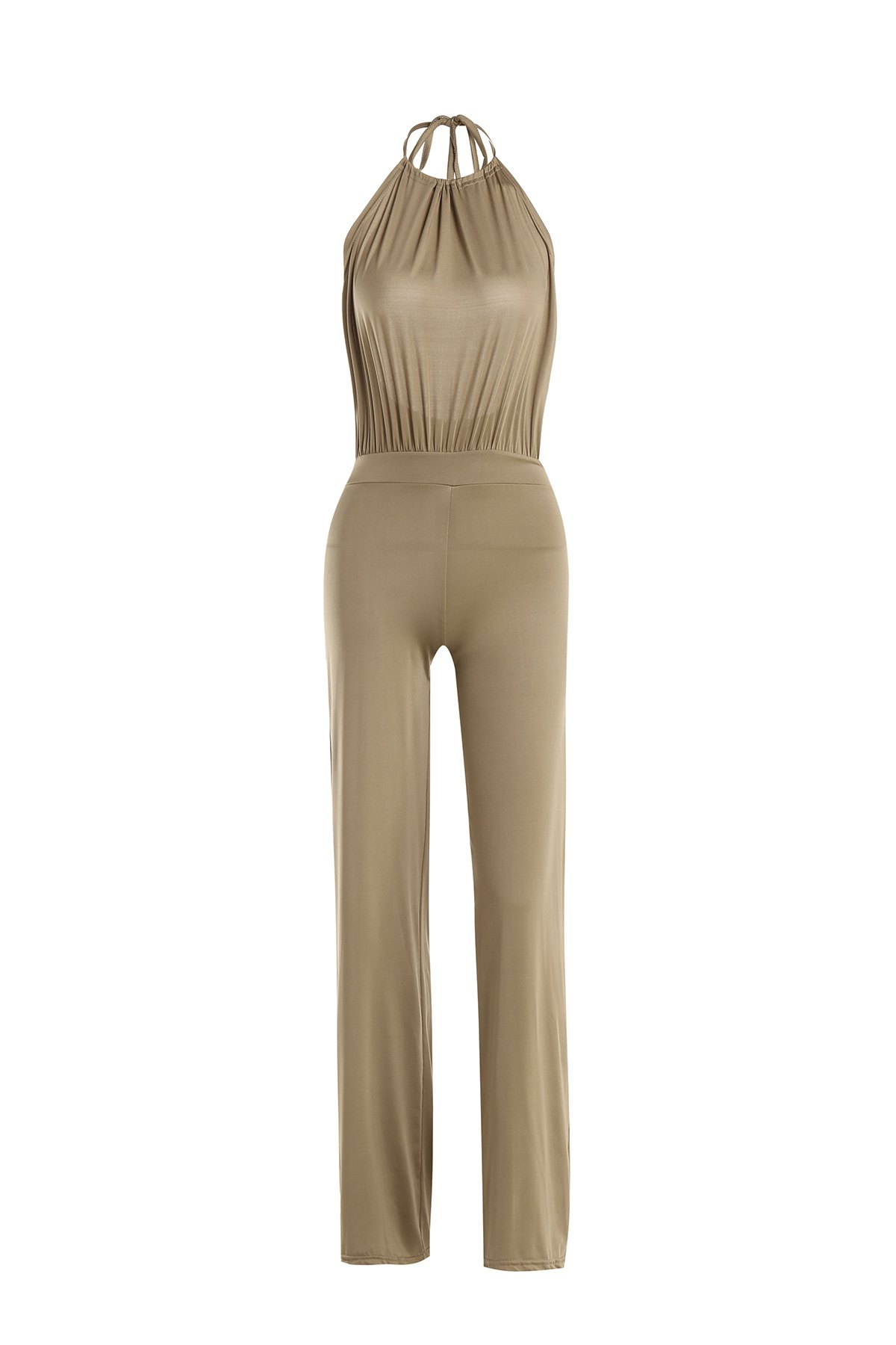 Unique Sexy Round Collar Sleeveless Backless Solid Color Women's Jumpsuit