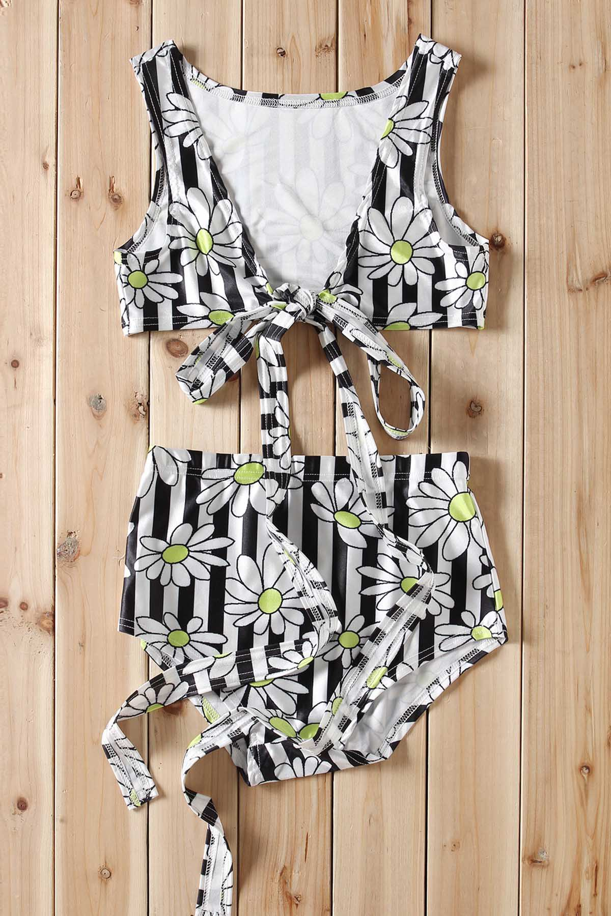 Fashion Sexy Plunging Neck Floral Print Striped Criss-Cross Two-Piece Women's Swimsuit