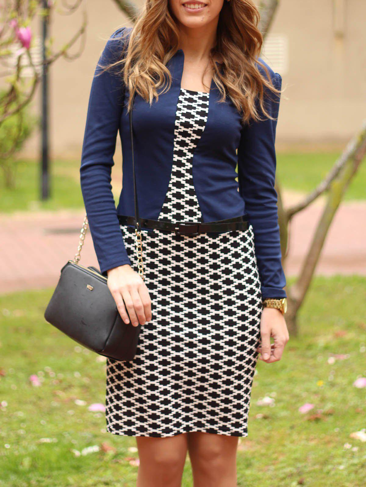 391e869dbcc0 Chic OL Style Round Collar Argyle Long Sleeve Faux Twinset Dress For Women