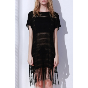 Open Knit Tassels Beach Short Sleeve Tunic Cover Up