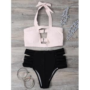 Halter Hit Color Bandage Bikini Set