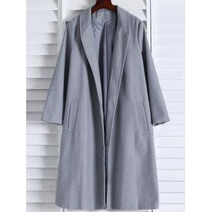 Shawl Neck Gray Wool Blend Coat - Gray - S