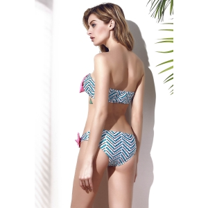 Trendy Bowknot Chevron Printed Bikini Set For Women -