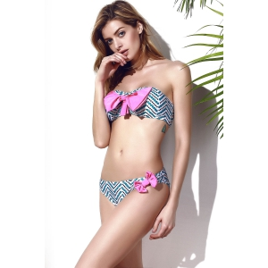 Trendy Bowknot Chevron Printed Bikini Set For Women - MULTICOLOR M