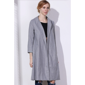 Shawl Neck Gray Wool Blend Coat - GRAY S
