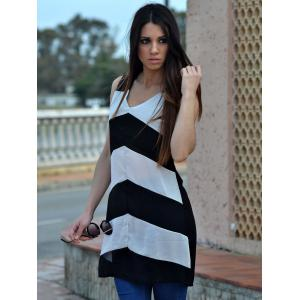 Sexy Plunging Neck Sleeveless Zig Zag Women's Dress -