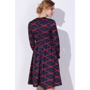 Robe Argyle Fit et Flare - Rouge S
