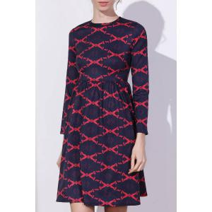 Argyle Fit and Flare Dress - RED L
