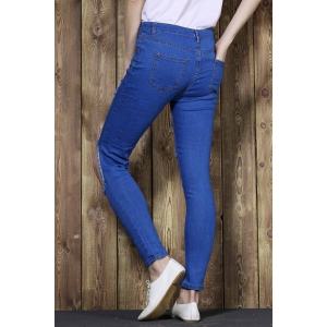 Cut Out Frayed Knee Cigarette Jeans - BLUE M