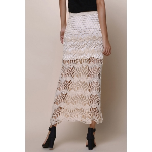 Crochet Lace Long Skirt - APRICOT ONE SIZE(FIT SIZE XS TO M)