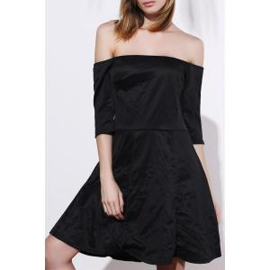 Sexy Off-The-Shoulder Half Sleeve Black Plus Size Women's Dress - Black - 2xl
