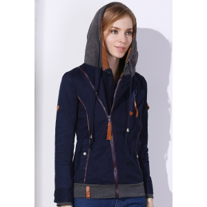 Active Hooded Skew Zippered Long Sleeve Thick Hoodie For Women -