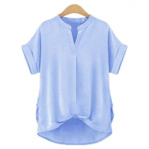 Chic Plus Size Stand Collar Short Sleeve Asymmetrical Women's Blouse