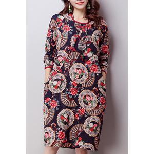 Retro Jewel Neck Long Sleeve Print Women's Cheongsam Dress