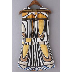 Women's Stylish Ethnic Printed Belted Sleeveless Dress -