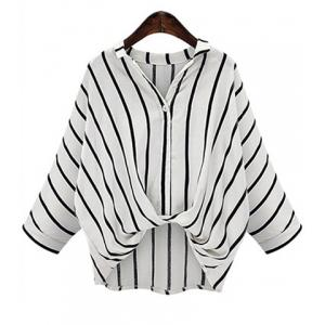 Chic Plus Size Turn-Down Collar Batwing Sleeve High-Low Hem Striped Women's Blouse - White - 3xl