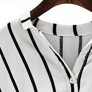 Chic Plus Size Turn-Down Collar Batwing Sleeve High-Low Hem Striped Women's Blouse -