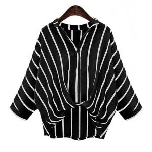 Chic Plus Size Turn-Down Collar Batwing Sleeve High-Low Hem Striped Women's Blouse