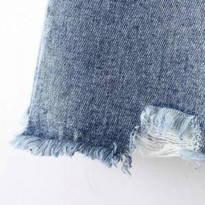 Stylish Bleach Wash Button Design Ripped Jeans For Women -