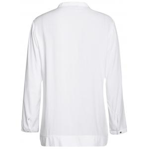 Casual Solid Color Embroidered Long Sleeve Blouse For Women -