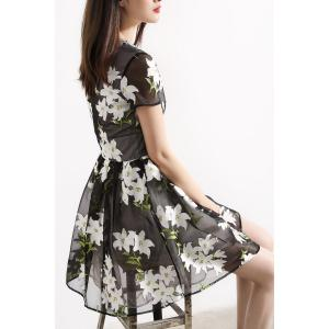 V Neck Lily Print Ball Gown Dress -