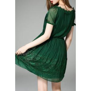 Pleated A Line Office Dress - GREEN 2XL