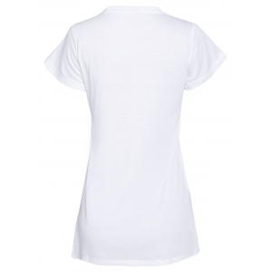 Women's Trendy Short Sleeve Jewel Neck Letter Print T-Shirt -
