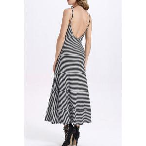 Fitted Backless Spaghetti Strap Striped Maxi Dress -