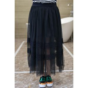 Stylish Plus Size Elastic Lace Spliced Solid Color Gauze Skirt For Women