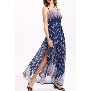 Zigzag Print Chiffon Boho Slip Maxi Dress - PURPLISH BLUE L