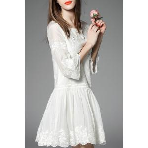 Bell Bottom Sleeve Embroidered Dress -