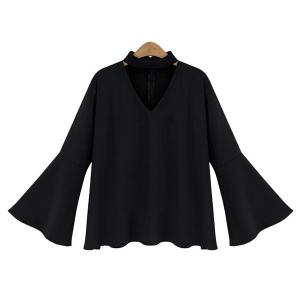Plus Size Flare Sleeve Blouse