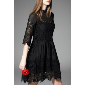 Hollow Out Solid Color Dress -