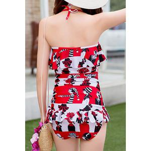 Trendy Halterneck Print Ruffled One-Piece Swimsuit For Women -